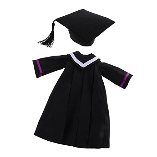 Graduation Gown Costume (Jili Online Exquisite Graduation Dress Academic Gown with Hat for 12'' Blythe Dolls Costume)