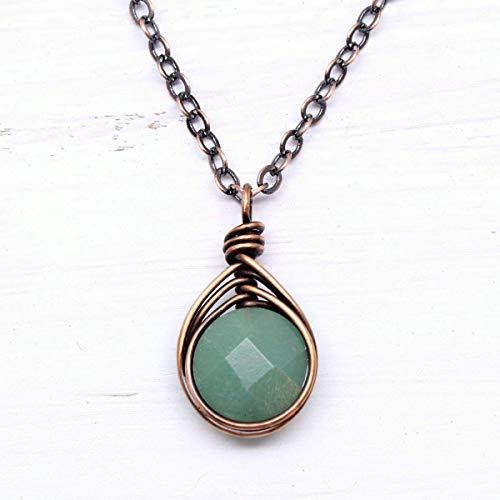 Green Aventurine Copper Wire Wrapped Pendant Necklace 18