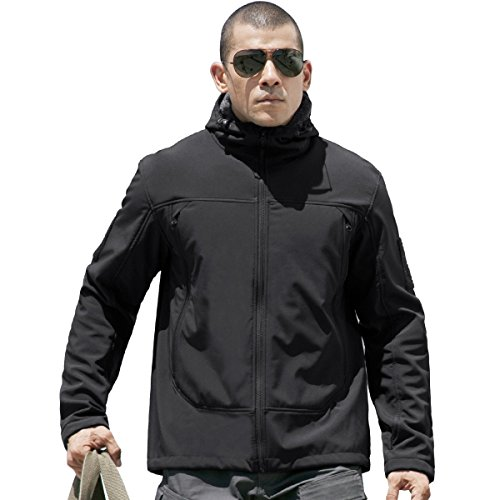 FREE SOLDIER Tactical Jacket Soft Shell Fleece Lined Water Repellent Coat Windproof Outwear Black Blue Jacket(Black XXL)