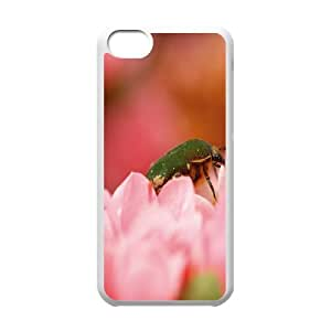 IPhone 5C Cases Green Bug, IPhone 5C Cases Bug for Teen Girls Protective, [White]