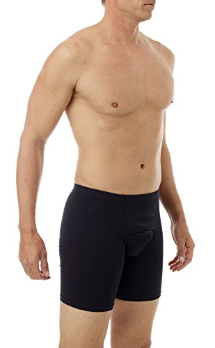 Underworks Cotton Spandex Ultra Light Compression long boxers Large Black