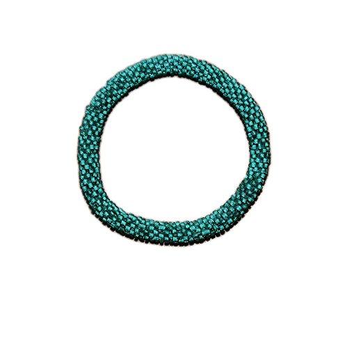 Green Handmade Bracelets - Neon Sea Green Crocheted Seed Beads Bracelets, Handmade in Nepal, Roll_in