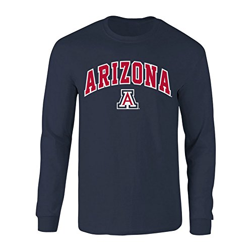 (Elite Fan Shop NCAA Men's Arizona Wildcats Long Sleeve Shirt Team Color Arch Arizona Wildcats Navy Small)