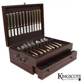 Kingscote Silversmiths - Princeton Flatware Chest - Mahogany - 210 Capacity by Kingscote Silversmiths