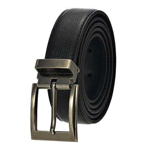 Faux Lizard Adjustable Belt with Nickel Buckle - Black 44