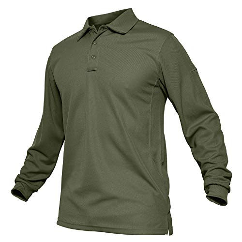 (TACVASEN Outdoor Performance Polo Collar Lightweight Long Sleeve Shirt Army Green,US XL )