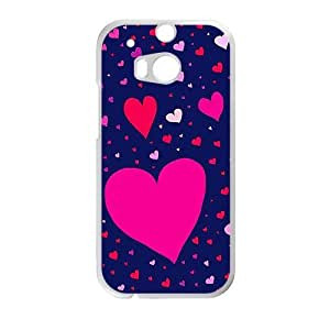 cute colorful heart lovely blue background personalized high quality cell phone case for HTC M8