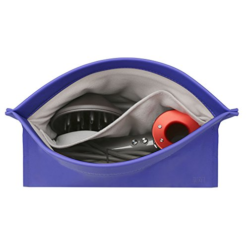 BUBM Travel Portable Storage bag for Dyson Supersonic Hair Dryer, Magnetic Flip PU Leather Moistureproof Anti-scratch Dustproof Shockproof Protection Organizer Travel Gift Case (Dark Blue)