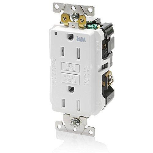 Leviton G5262-WTW 15A-125V Extra-Heavy Duty Industrial Grade Weather/Tamper-Resistant Duplex Self-Test GFCI Receptacle, White, -