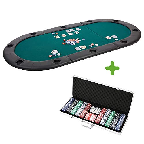Lucky Tree 82 inch Poker Table Top with Poker Chips Set- 3 Folding 10 Players Casino Blackjack Game Table Topper Oval Padded Poker Table Layout with Cup Holders