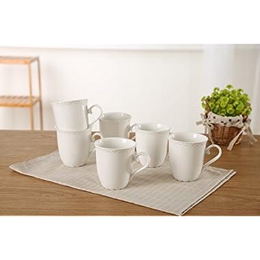 SOLECASA 12OZ Classic Floral Porcelain Mugs Microwave-Safe Coffee/Tea Cappuccino Ceramic Mugs, Set of 6, White