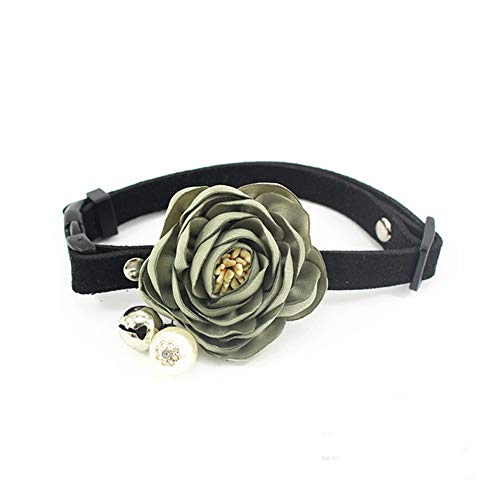 (PetFavorites Peony Flower Cat Dog Collar Bow Tie - Suede Puppy Necklace with Bell Pearl - Chihuahua Yorkie Clothes Costume Outfits Accessory, Adjustable & Handmade (Grass Green, Size M))