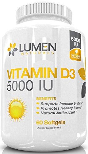 Vitamin D3 5000 IU - Powerful Antioxidant Supplement to Combat Vitamin D Deficiency, Boost Immune System & Improve Bone Health - 60 Softgels