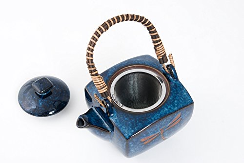 Authentic Imported Japanese Blue Dragonfly Tombo Pottery Tea Set with Strainer and 4 Tea Cups Gift Set Made In Japan
