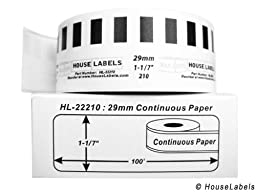 24 Rolls; Continuous Paper, BROTHER-Compatible DK-2210 Continuous Paper Labels (1-1/7\
