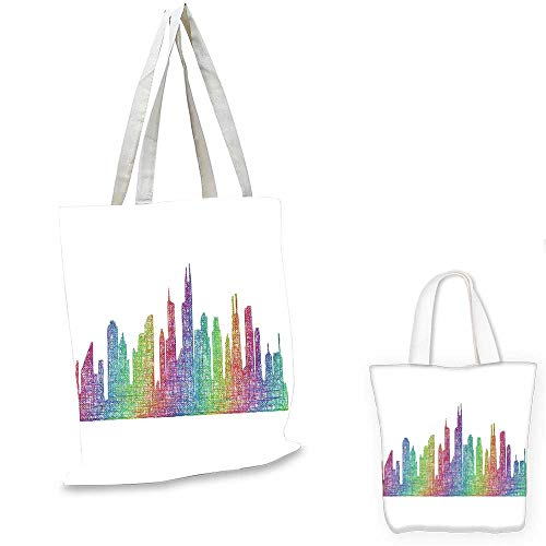 Chicago Skyline small clear shopping bag Abstract City Scene in Mixed Rainbow Tones Modern Featured Artful Kitsch canvas lunch bag Multicolor. 14