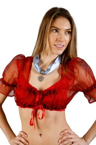 Edelnice Trachtenmode - Blusa - acampanada - para mujer Rojo