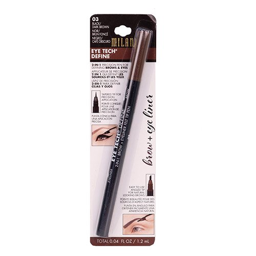 (2 PACK) MILANI 2-in-1 Eye Tech Define Brow + Eye Liner Black/Dark Brown