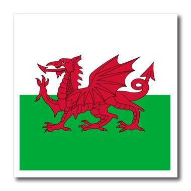 3dRose ht_158289_1 Flag of Wales Welsh Red Dragon on White and Green Y Ddraig Goch Up United Kingdom Great Britain Iron on Heat Transfer for White Material, 8
