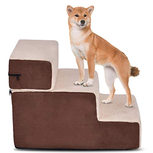 Cheap Giantex Dog Steps 3-Step Soft Dog Stairs Ramp Portable Cotton Pet Steps Home Stairs, Best for Dogs and Cats, Brown