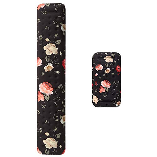 iLeadon Ergonomic Keyboard Wrist Rest Pad and Mouse Pad Wrist Support Set, Soft Memory Foam Cushion Support with Massage Holes Design, Anti-slip Rubber Base for Hands Wrist Pain Relief, Elegant Flower