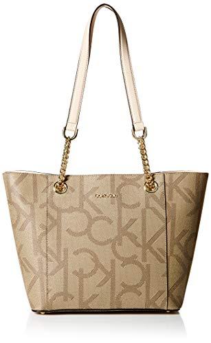 Calvin Klein Hayden Signature East/West Top Zip Chain Tote, large khaki/brown