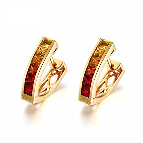 Carleen 18k Solid Yellow Gold Multi Colored Princess Cut Natural Sapphire Hinged Huggie Hoop Earrings Dainty Delicate Fine Jewelry For Women Girls Diameter (Multi Colored Sapphire Earrings)
