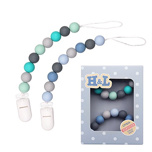 H&L Pacifier Clip, Silicone Teething Beads Binky Teether Holder for Boys,, 2 Pack (Green+Blue) ()