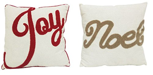 Celebrations Axf1313ast Joy Or Noel Christmas Pillow, White, Polyester by Celebrations