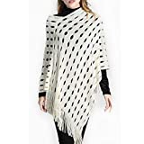 Classical City Women Knitted Fringed Shawl Plus Size Pullover Poncho Sweater Cape Shawl Wrap(white)