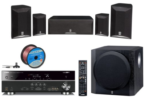 """Yamaha Advanced CINEMA DSP 3D Ready Home Theater System with 5.1-channel 525 Watt AV Receiver + 2 Front Shelf Speakers + 2 Surround Satellite Speakers + 1 Center Channel Speaker + 1 Advanced YST II Front Firing 100W Powered 10"""" Active Subwoofer (Speaker Wire Included)"""