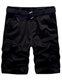 Wantdo Men's Cargo Shorts Lightweight Relaxed Fit Belted Cotton Twill Pants