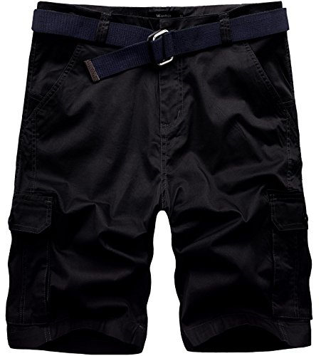 Wantdo Men's Belted Relaxed Cotton Cargo Shorts