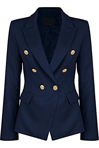 Womens Double Breasted Military Style Blazer Ladies Coat Jacket (US12, Navy) - Breasted Navy Blazer
