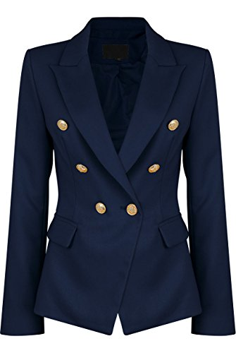 Womens Double Breasted Military Style Blazer Ladies Coat Jacket (US10, Navy)