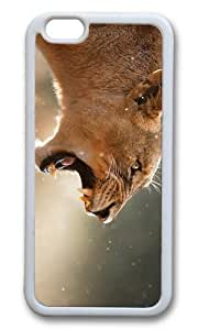 MOKSHOP Adorable angry female lion Soft Case Protective Shell Cell Phone Cover For Apple Iphone 6 Plus (5.5 Inch) - TPU White
