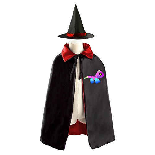 Toddler Cow Costume Diy (DIY spirit cartoon dog Costumes Party Dress Up Cape Reversible with Wizard Witch Hat)