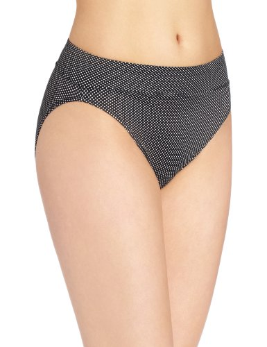 Warner's Women's No Pinching. No Problems. Hi-Cut Brief Panty, Black/White Pindot, X-Large ()
