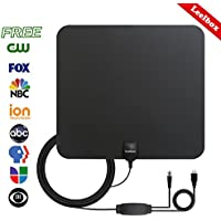 Leelbox 2018 HDTV Antenna Indoor Amplified Digital Antenna 50 Miles Range Amplifier Signal Booster 1080P 4K Full HD High Reception with 13ft Coaxial Cable-Black