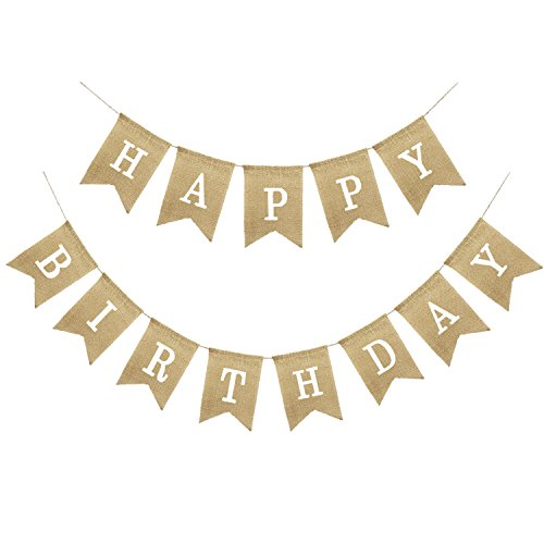 Uniwish Happy Birthday Banner Party Decorations, Rustic Burlap Bunting Swallowtail Flags, 2 in 1 ()