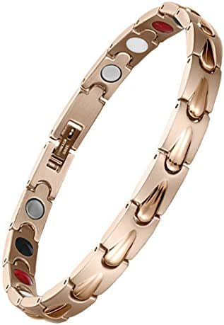 EBUTY Women Stainless Steel Magnetic Therapy Bracelet 4 Element Rose Gold for Arthritis Pain Relief w/Free Link Removal Tool