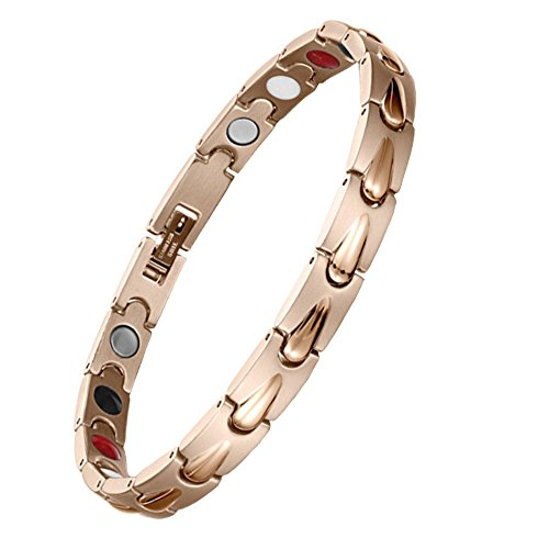Women Stainless Steel Magnetic Therapy Bracelet 4 Element Rose Gold for Arthritis Pain Relief w/Free Link Removal Tool