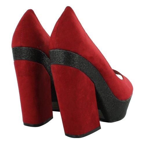 Footwear Sensation - Zapatos de vestir de material sintético para mujer rojo - Red Black Peep Toe