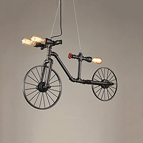 Cgjdzmd Ceiling Pendant Lights Retro Industrial Creative Bicycle Water Pipe Chandelier E27 3-Lights Nordic Iron Craft Barn Loft Attic decoration Hanging - Maple Three Pendant Light