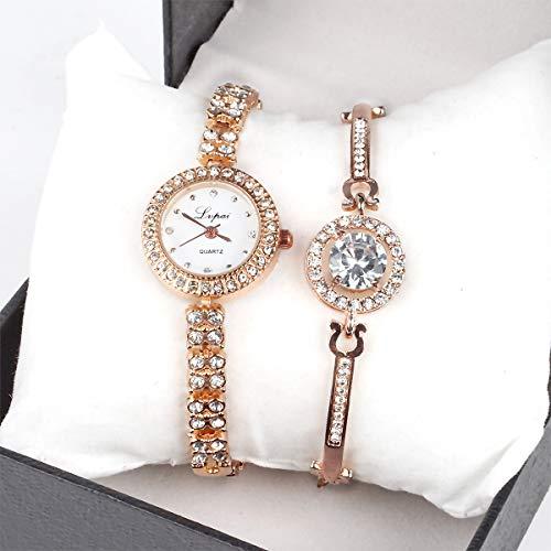 Women Luxury Ladies Analog Quartz Round Watch Bling Classic Watch Crystal Charm Bracelet Set