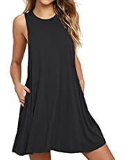 HAOMEILI Women's Summer Casual Swing T-Shirt Dresses Beach Cover up with Pockets