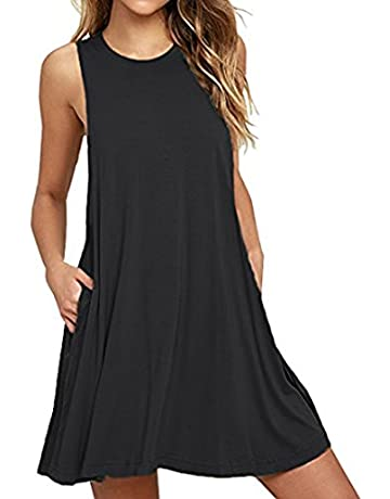 8708c575456b HAOMEILI Women's Summer Casual Swing T-Shirt Dresses Beach Cover up with  Pockets