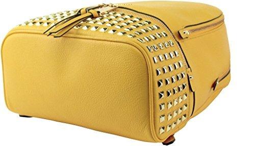 MICHAEL KORS Rhea Studded Leather Zip Small Backpack (Sunflower)