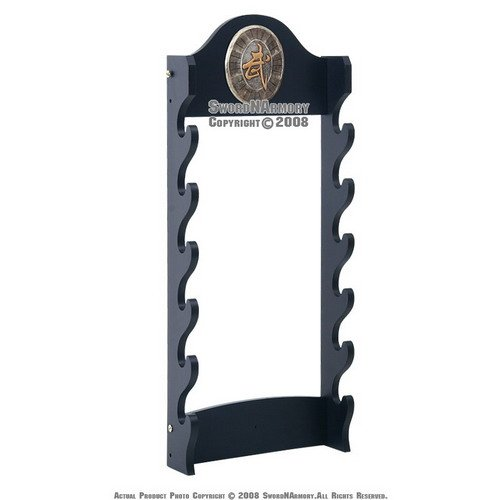Deluxe 6 Tier Wall Mounted Sword Display Stand w/ Word (Sword Wall Display Single)