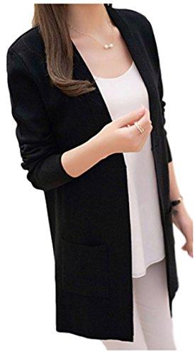 [ワン アンブ] 上品 ニット カーディガン さっと羽織れる ガウン ボタン無し 薄手 M ~ XL レディース